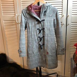 Jackets & Blazers - Grey hooded fall/winter coat w zipper+ toggles